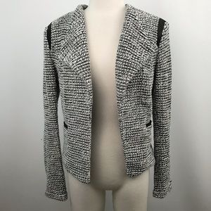 Banana republic tweed black/ white open blazer 12